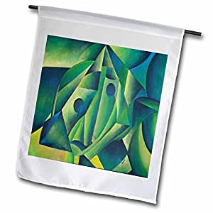 Taiche - Acrylic Painting - Surreal Women - Woman and Headscarf - cubism, contemporary, decorative, abstract, woman, headscarf, islam - 18 x 27 inch Garden Flag (fl_46771_2)