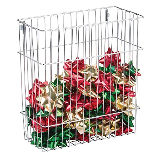 mDesign Wall Mount Holiday Organizer Basket for Wrapping Paper, Gift Bags, Bows - Chrome