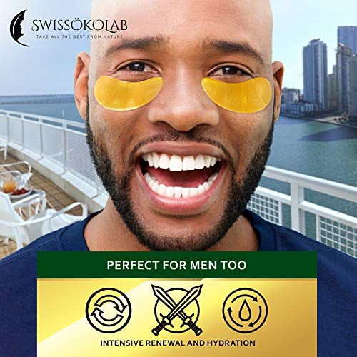 51 604kYJ1L - Under Eye Mask Gold Eye Mask Anti-Aging Hyaluronic Acid 24k Gold Eye Patches Under Eye Pads for Moisturizing & Reducing Dark Circles Puffiness Wrinkles