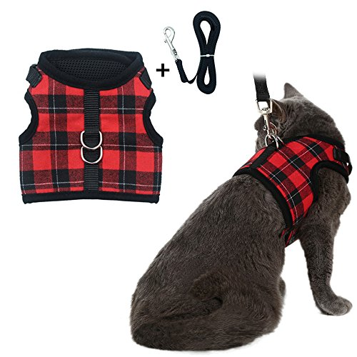 Escape Proof Cat Harness with Leash - Adjustable Soft Mesh - Best for Walking Plaid Medium