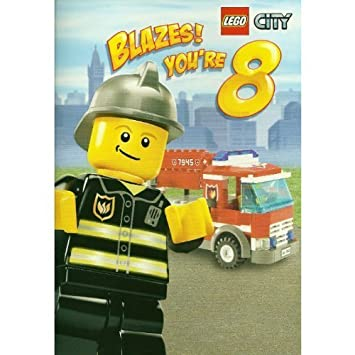 Lego City Fire Department Boys 8th Birthday Card Amazon
