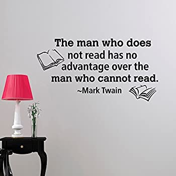 Ditooms Inspirational Quotes Wall Decals The Man Who Does Not Read Educational Classroom Art