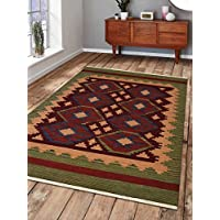 Rugsotic Carpets Hand Woven Kelim Woolen 7 x 9 Contemporary Area Rug Burgundy Olive D00121 With Fringe