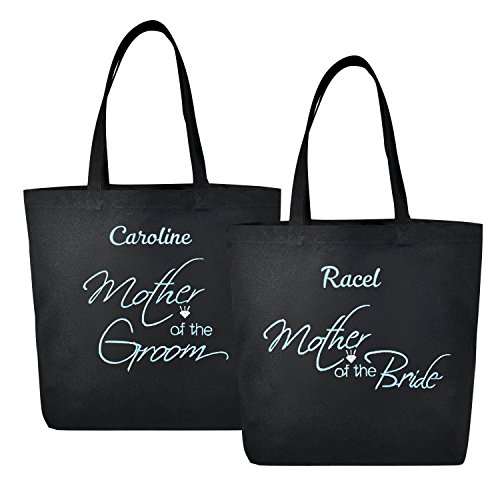 PERSONALIZED Aqua Embroidered Mother of(Bride+Groom) Tote Wedding Gift Black Shoulder Bag 100% Cotton 2 Pcs