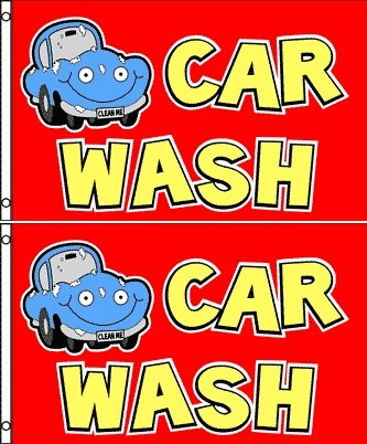 Car Wash Banner Flag (Pack of 2) - 3 x 5 (Cheap Banner)