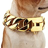FANS JEWELRY Super Huge Gold Plated Trainning Collars 316L Stainless Steel Dog Choker Curb Cuban Chain Necklace(26inches,30mm)