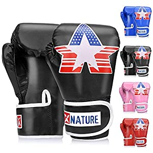 Well-Being-Matters 51-61KeonBL._SS300_ Xnature 4oz 6oz 8oz PU Kids Boxing Gloves,Gift Box Children Kickboxing Sparring Youth Boxing Or Training Gloves Age 5-12…