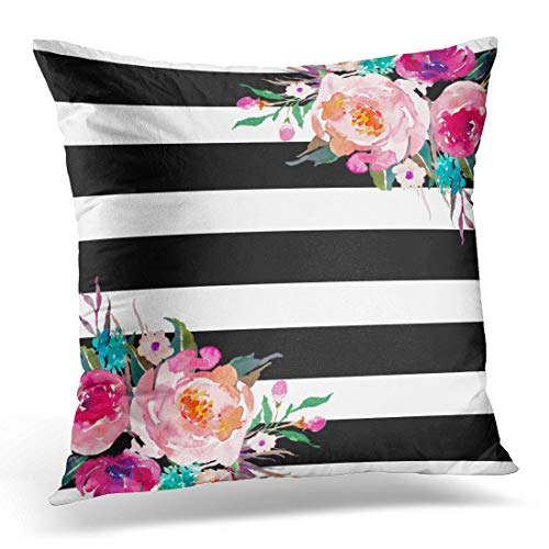 Emvency Decorative Throw Pillow Cover Queen Size 20x30 Inches Trendy Pink Watercolor Floral Black White Stripe Outdoor Pillowcase With Hidden Zipper Decor Cushion Gift For Holiday Sofa Bed - Floral Pillowcase