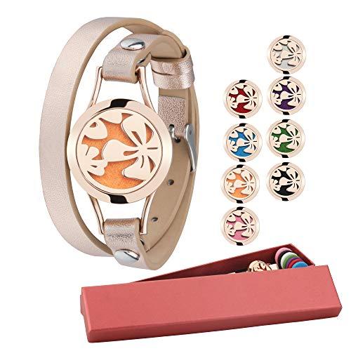 (Aromatherapy Bracelet Essential Oil Diffuser Bracelet 4-Leaf Clover Anxiety Diffuser Locket set Yoga Aromatherapy Bracelet+8 Felt Pads Unique Gift Set for Women Mother&Kids)