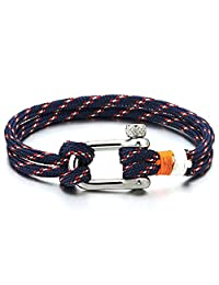 Mens Womens Steel Screw Anchor Shackles Nautical Sailor Rope Cord Wrap Bracelet Wristband