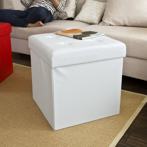 Contemporary Faux Leather Ottoman - 4