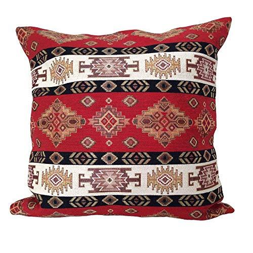 pillowerus Tapestry Fabric Kilim Pattern Red-Cream 18