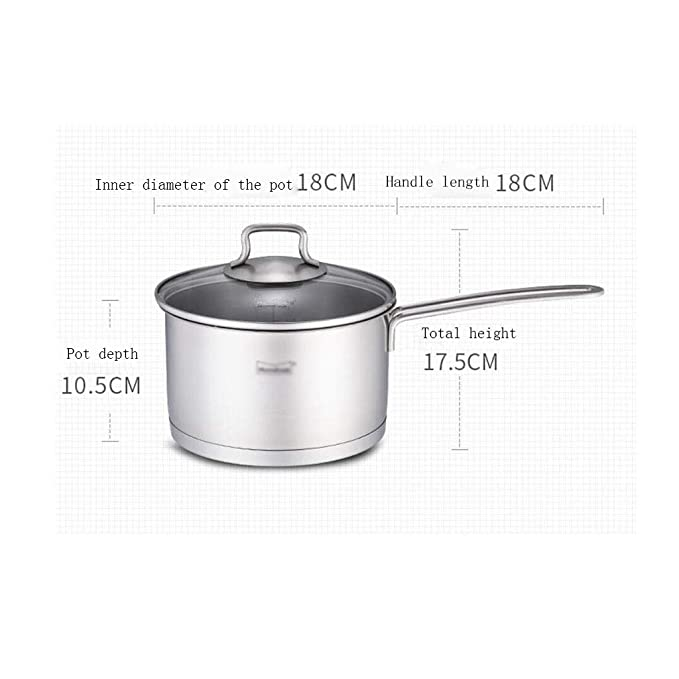 Nwn Acero Inoxidable Leche crisol de la Sopa Pot 18cm, 2L ...