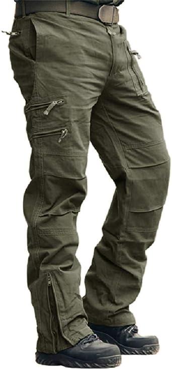 Amazon Com Crysully Pantalones De Trabajo Tacticos Para Exteriores Para Hombre De Algodon Con Multiples Bolsillos Militares De Carga No Se Incluye El Cinturon Clothing