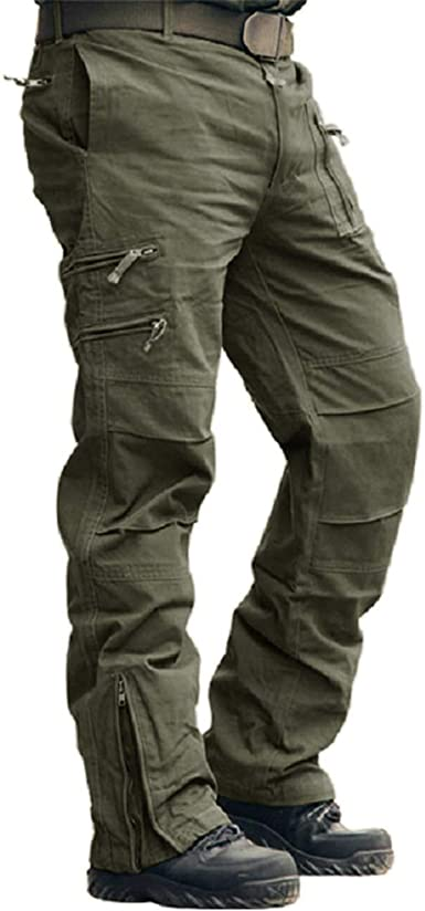 estilo militar con 6 bolsillos Pantalones de trabajo para hombre cintura el/ástica HUAZONG
