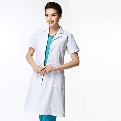 ESENHUANG Verano Unisex Enfermera De Manga Corta Uniforme Clínica Dental Workwear Lab Coat Hospital Ropa De Color Blanco Abrigo Médico: Amazon.es: Ropa y ...