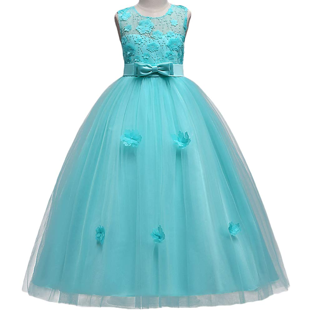 HUANQIUE Girls Pageant Bridesmaid Dresses Lace Flower Girl Wedding Dress Green 5-6 Years