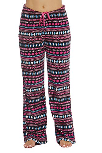6339-10180-2X Just Love Women's Plush Pajama Pants - Petite to Plus Size Pajamas,Black - Aztec Ribbon,2X Plus
