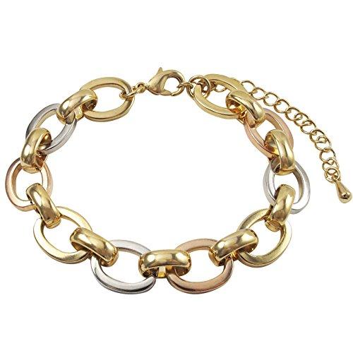 7' Open Link Bracelet - GRACE HARPER Tri-color Finish Open Oval Link Bracelet, 7'' with 2'' Extender