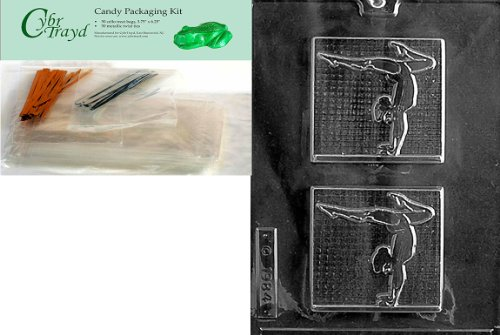 Cybrtrayd Mdk50-S013 Female Gymnast Sports Chocolate Candy Mold, Includes 50 Cello Bags, 25 Gold and 25 Silver Twist Ties