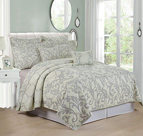 Serenta 7 Piece Printed Microfiber Bedspread Quilts Set, King, Marisol Gray