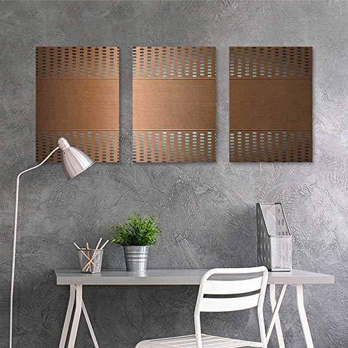- HOMEDD Original Oil Painting,Industrial Perforated Grid Plate Steel with Dots Illustration Futuristic Technology Theme,Oil Canvas Painting Wall Art 3 Panels,16x31inchx3pcs Ombre Bronze