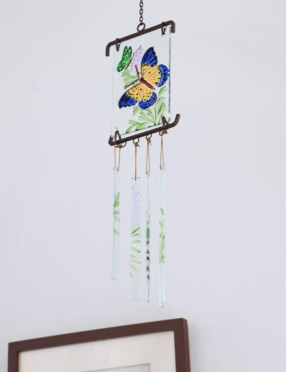 Afirst Dragonfly Wind Chimes 21 inches Colorful Glass Wind Chime Unique Gift Idea for Family and Friends Great Decoration for Home and Garden