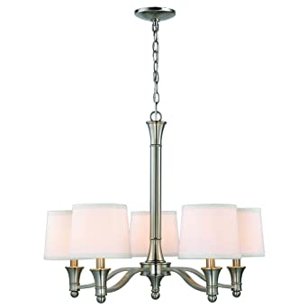 Hampton bay 5 light brushed nickel chandelier with white fabric hampton bay 5 light brushed nickel chandelier with white fabric shades aloadofball Choice Image