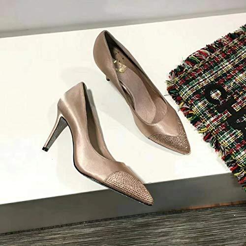 Yukun zapatos de tacón alto Zapatos Solos De Las Mujeres Zapatos De Mujer De Tacón Alto Aguja De Perforación Superficial Brillante Caliente Silver Gray