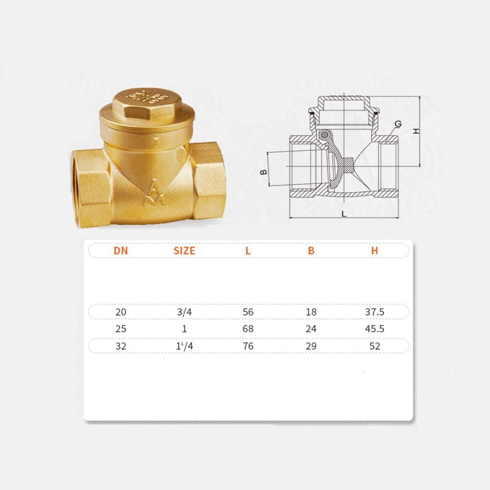 1 Inch 1.2 Inch) Maniny Brass Non Return Valve,Straight-Through Anti-Reverse Water Home Engineering Water Pipe Check Valve(6 Points