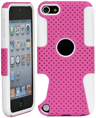 iPod Touch, Dual-Layer Heavy Duty Ultra Slim Matte Perforated Rugged Protective Cover Case for Apple iPod Touch 6th Gen 5th Gen (Pink on White)