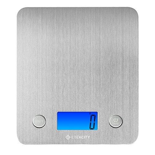 Etekcity Stainless Steel Kitchen Scale, Digital Food Scale with 30% Larger Platform & Backlight Display, 11lb/5kg, Slim Design