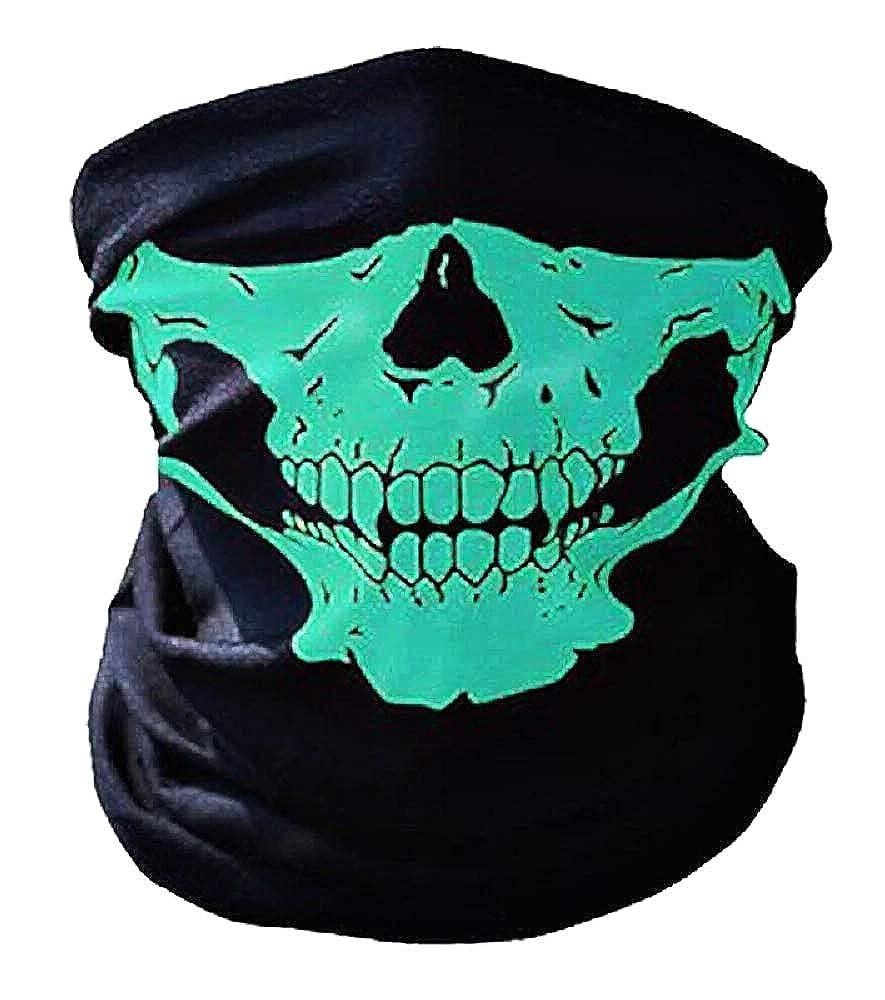 Cranio Idea regalo originale Ciclista Misura Unica Passamontagna Teschio Sport Verde Maschera Horror Cosplay Met/à Volto Halloween Motociclista Carnevale Travestimento