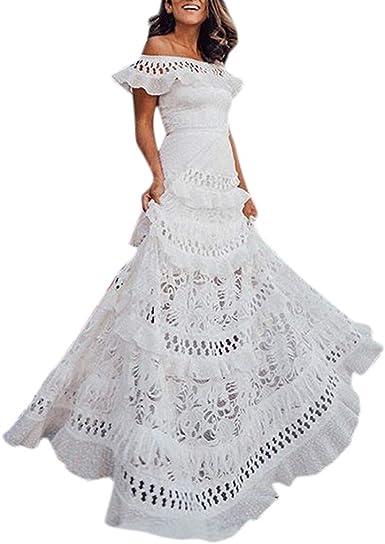 GACOZ Mujer Vestido Verano 2019, Elegante Fuera del Hombro Blanco ...