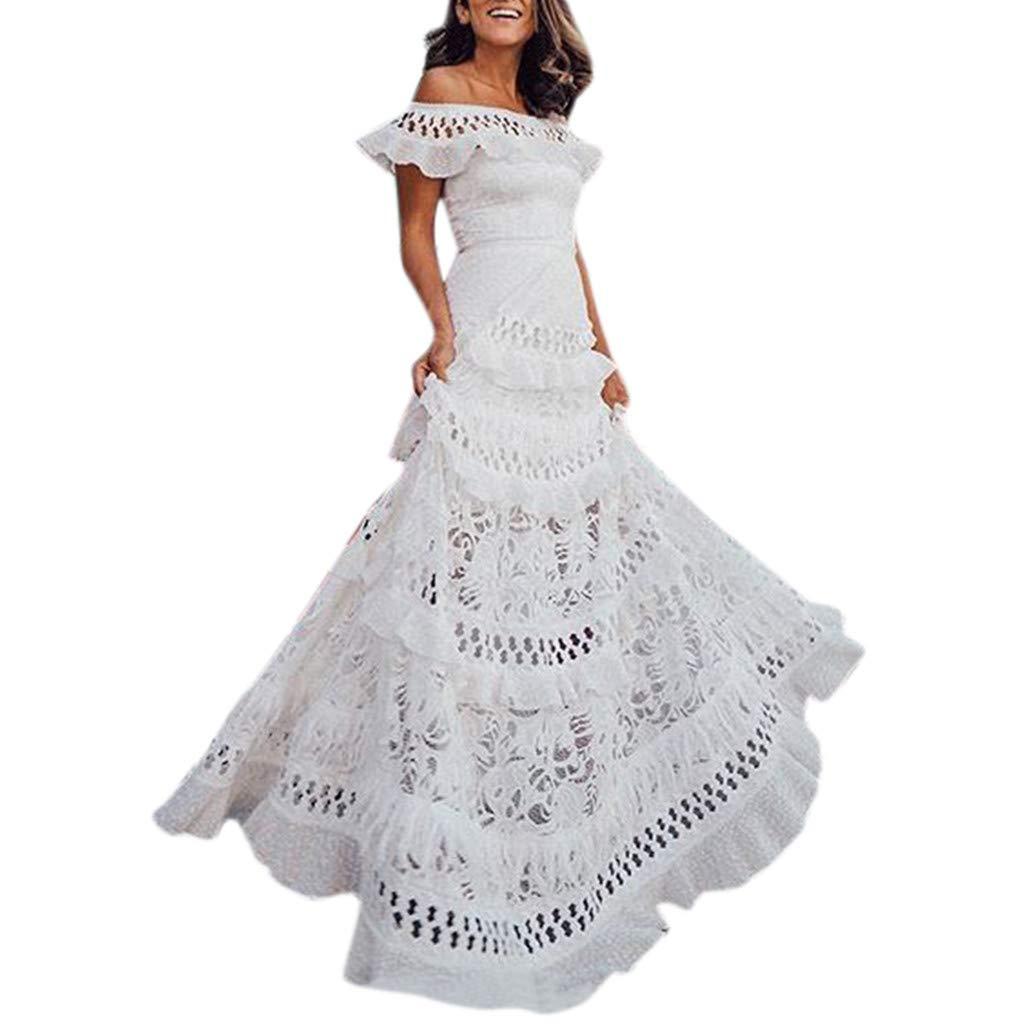 haoricu Ladies Lace Dress Formal Wedding Dress Bridesmaid Dress Off Shoulder Ruffled Openwork Dress White by haoricu