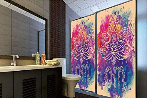 Horrisophie dodo No Glue Static Cling Glass Sticker,Chakra Decor,Psychedelic Oriental Lettering and Lillies with Surreal Hallucinatory Background,Multi,39.37