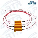 4PCS ARTR 50W 6ohm Load Resistors With Extra Long Wire 17.7 Inch- Fix LED Bulb Fast Hyper Flash Turn Signal Blink Error Code