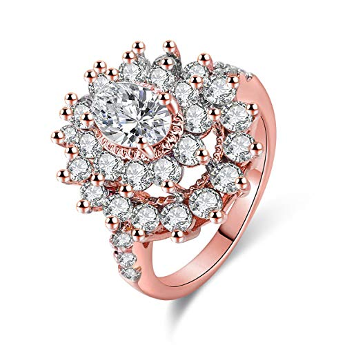 Jiangyue Women Rings AAA Cubic Zirconia Rose Gold Plated Party Club Vibrant Luxury Elegant Jewelry Valentine's Day Mother 's Day Gift Size 5