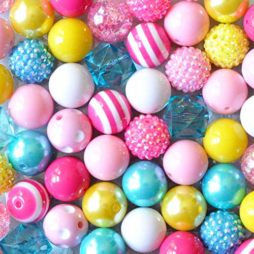 (Pink Yellow Turquoise 20mm Chunky Bubblegum Beads 50 Pc Set)