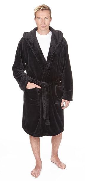 Albornoz con capucha para hombre, de franela y forro polar, bata, tallas S-2XL y talla grande Negro negro XXX-Large: Amazon.es: Ropa y accesorios