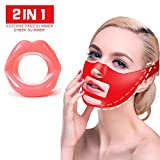 Facial Muscles Lips - Silicone Face Slimmer Set, [2 Pack] Heritis Anti-wrinkle Anti-aging silicone lips and Chin Strap, 2018 New Design BPA Free Face Slimmer, best silicone mouth and facial exerciser, Pink silicone lips an