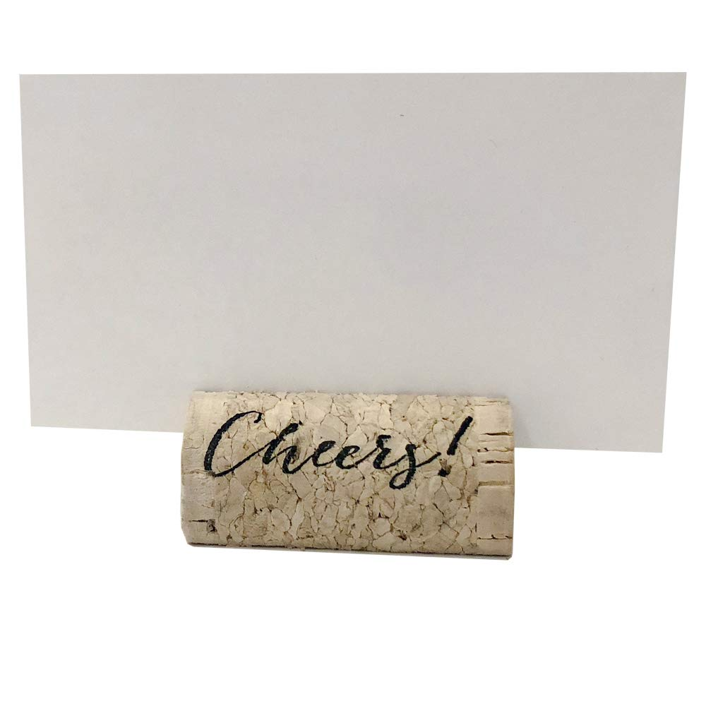 Wine Cork Place Card Holders Custom Cork Card Holders ''Cheers'' set of 25 Includes Place Cards Escort Card Rustic Wine Cork Table Décor Wine Theme Cork Placecard Party Place Cards Cheers Place Card