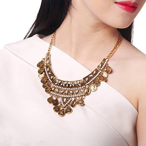 [HONEYJOY Women Bohemia Hollow Gold Resin Inlay Alloy Coin Pendant Tassel Necklace] (Sexy Sequin Kitty Costumes)