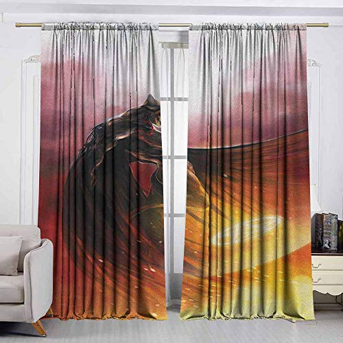 VIVIDX Rod Pocket Window Curtain Panel,Fantasy World,Superhero in His Original Costume Flying Up Magic Flame Save The World Theme,Darkening Thermal Insulated Blackout,W72x72L Inches Yellow Red -