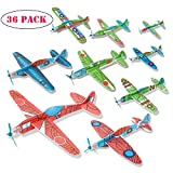 kizh Flying Glider Planes, 36 Pack 8 inch Throwing Foam Airplane Birthday Party Favor Plane Flying Aircraft Easy Assembly Best Outdoor Fun for Kids Children Boys Girls Random Color