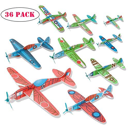 kizh Flying Glider Planes, 36 Pack 8 inch Throwing Foam Airplane Birthday Party Favor Plane Flying Aircraft Easy Assembly Best Outdoor Fun for Kids Children Boys Girls Random Color by kizh (Image #7)