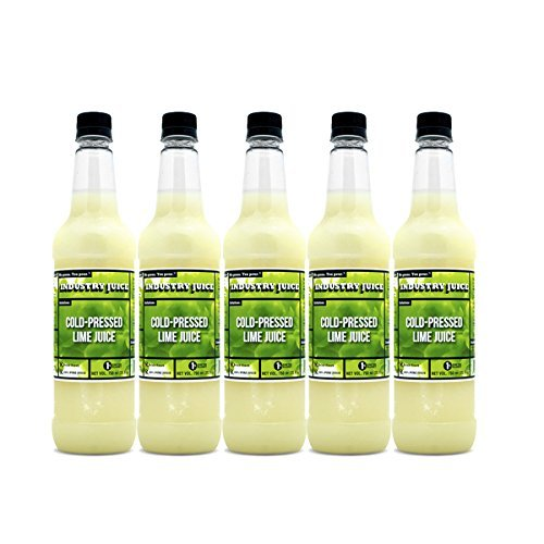 Cold Pressed Industry Juice craft bar lime juice.100% fresh squeezed lime juice for honest craft cocktails. No sugar added, never heat treated. Direct shipped, press to your bar-5 Pack