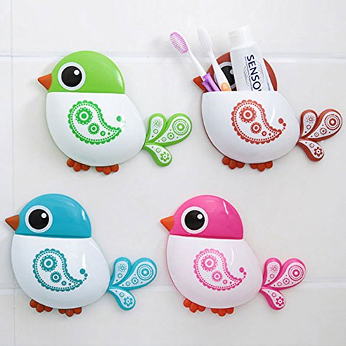 JD Million shop High Quality Bathroom Accessories for Toothbrush Bath Storage Organizer Tool Creative Bird Pattern Suction Cup Toothbrush Holder (Creative Bath Graffiti)