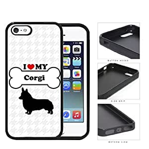 I Love My Dog Series Rubber Silicone TPU Cell Phone Case Cover Apple iPhone 5 5s (Corgi)