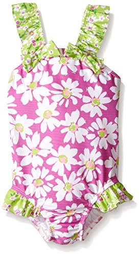 Flap Happy Little Girls UPF 50+ Malia V-Back Swimsuit, Daisy Jane, 5